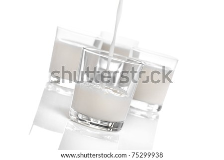 fresh glasses of milk isolated on white background - stock photo