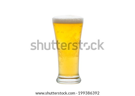 Fresh gold cold and delicious beer in curvaceous glass,isolated on white - stock photo