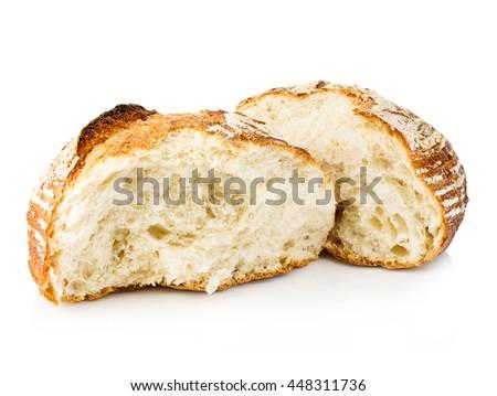 Fresh grain homemade bread cut in half on white background. - stock photo