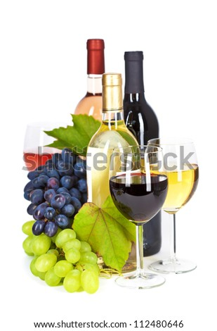 Fresh grape  and wine isolated on white - stock photo