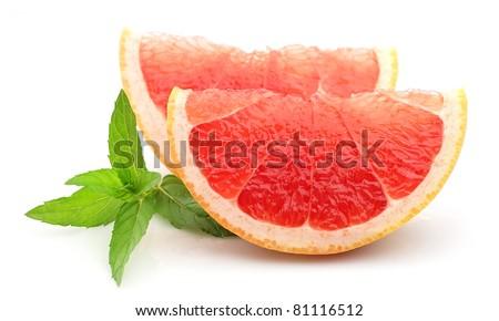 fresh grapefruit fruit with mint - stock photo