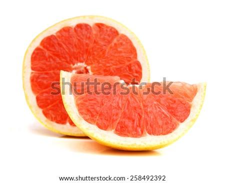 fresh grapefruit on white background - stock photo