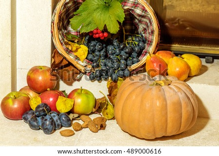 autumn background, fruits and vegetables on yellow fallen leaves ...