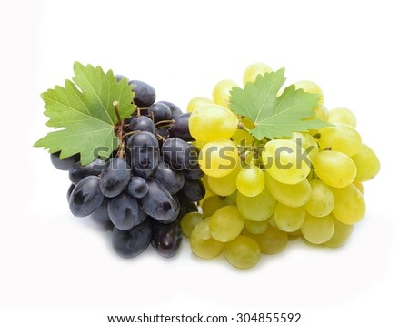 Fresh grapes with leaves