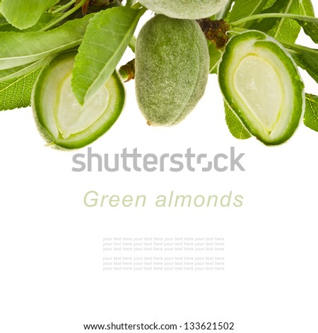 Fresh green almonds with leaves and nuts slit isolated on the white background - stock photo
