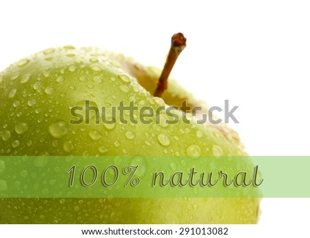 Fresh green apple and space for your text isolated on white - stock photo