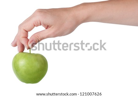 Fresh green apple in hand on a white background