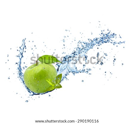 Fresh green apple in water splash isolated on white background - stock photo