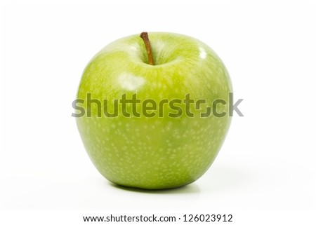 Fresh Green Apple. Objects with Clipping Paths. - stock photo