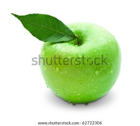 fresh green apple with green leaf