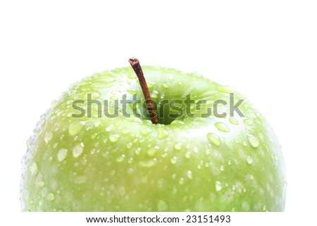 fresh green apple with water drops