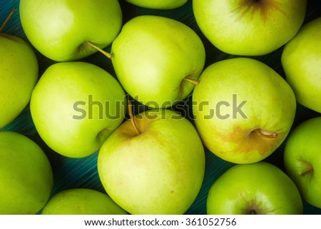 Fresh green apples background