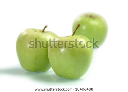 Fresh green apples - isolated on white - stock photo