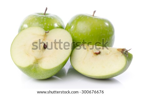 Fresh green apples, isolated on white - stock photo