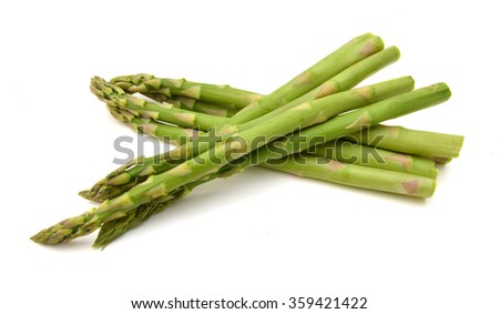 Fresh green asparagus bunch isolated on white - stock photo