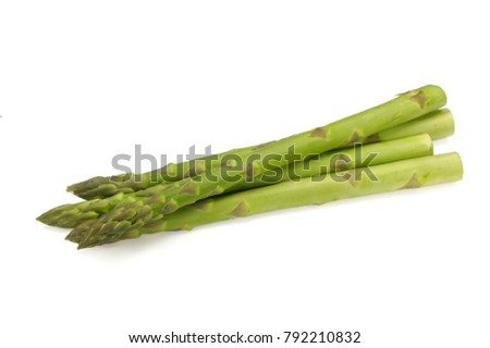 Fresh green asparagus on white background