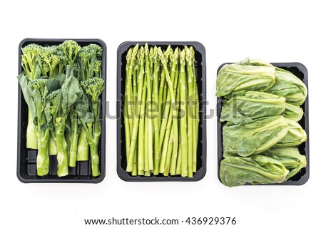 Fresh green Asparagus vegetable , Baby Broccoli vegetable , Brussel sprouts vegetable isolated on white background - Healthy food style concept - stock photo