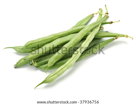 Fresh green asparagus vegetable on white