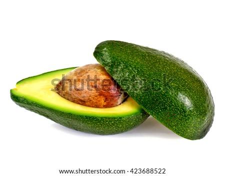 Fresh Green Avocado Isolated on White Background - stock photo