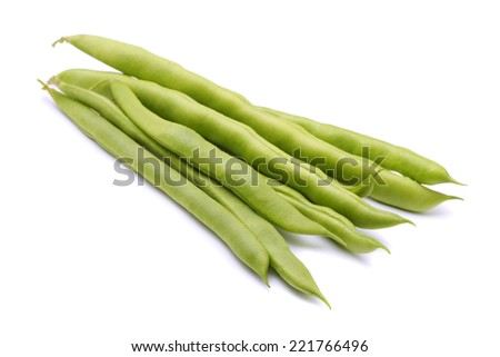 Fresh green beans isolated on white - stock photo