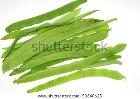 Fresh Green Beans On White Background