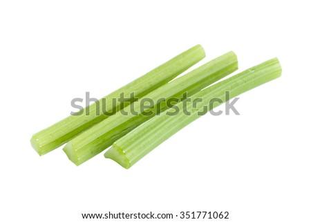 Fresh green celery slice ingredient on white background - stock photo