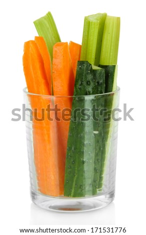 Fresh green celery with vegetables in glass isolated on white