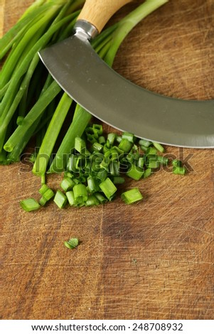 fresh green chives on wooden board with a special knife - stock photo