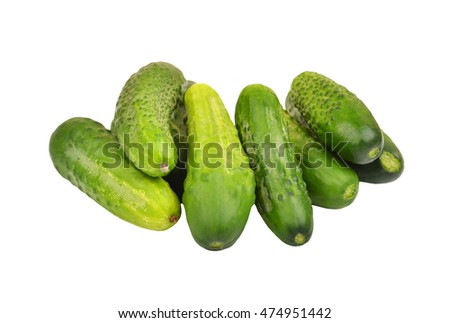 Fresh green cucumber gherkin, isolated on a white, DOF