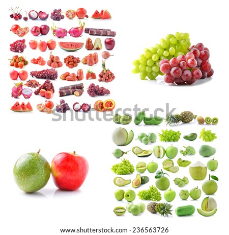 Fresh green fruit and Red fruits  on white background - stock photo