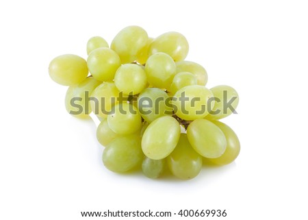 Fresh green grapes isolated on white background. - stock photo