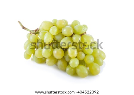 Fresh green grapes isolated on white background.