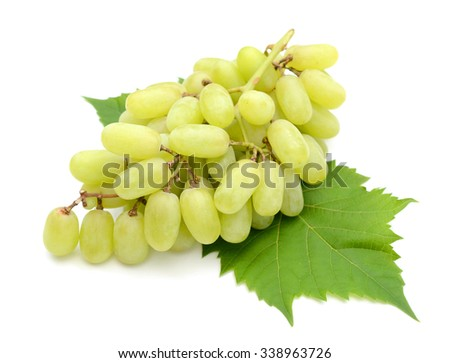 fresh green grapes with leaf isolated on white  - stock photo