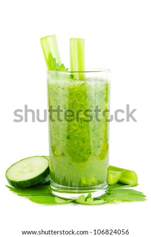 Fresh green healthy cucumber and celery smoothie on white - stock photo