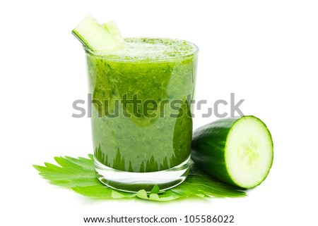 Fresh green healthy cucumber smoothie on a white background - stock photo