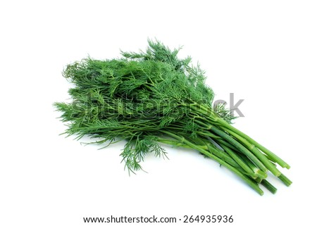 Fresh green herb seasoning on a white background - stock photo