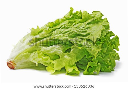 Fresh green lettuce isolated on a white - stock photo