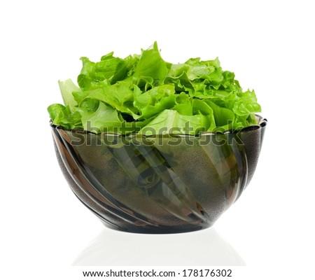 Fresh green lettuce leaves in a plate on white background