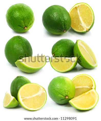 Fresh green lime fruits isolated healthy food on the white background
