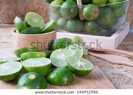 fresh green lime half prepare for cook