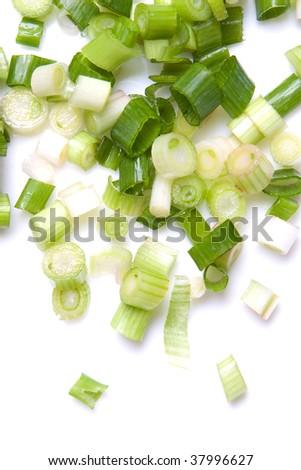 Fresh green onion on the white background - stock photo
