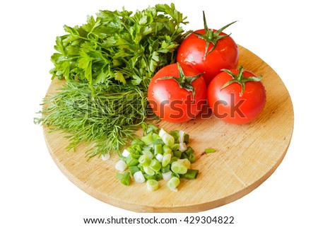 Fresh green onion, parsley, dill and tomatoes, isolated on white background - stock photo