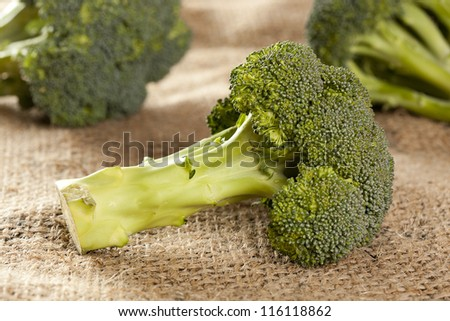 Fresh Green Organic Broccoli against a background - stock photo