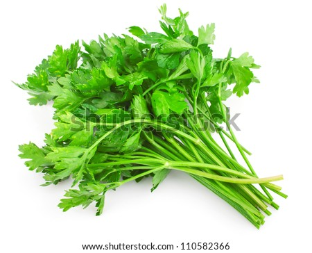 Fresh green parsley isolated on white background, food ingredient - stock photo