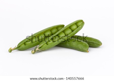 Fresh green pea pod on white background