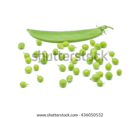 Fresh green pea pod on white background - stock photo
