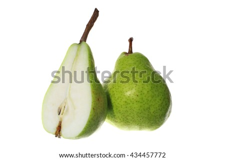 Fresh green pears isolated on white background - stock photo