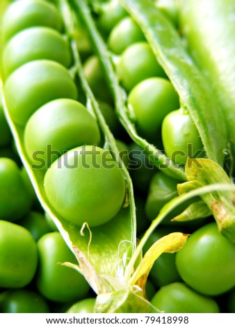 Fresh green peas - stock photo