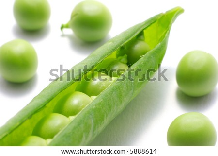 Fresh green peas in a pod, isolated on white.