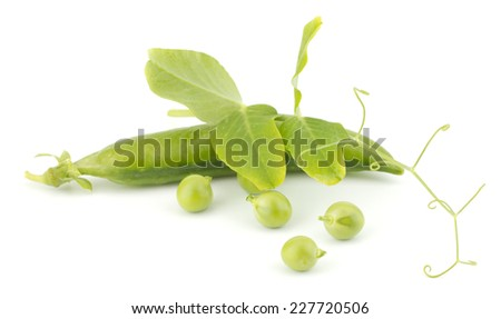 Fresh green peas with leaves isolated on white background